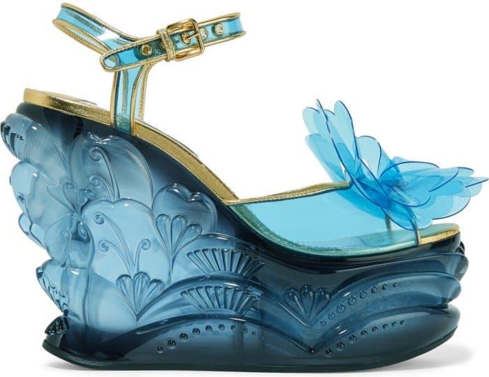 Miu Miu Leather-Trimmed Appliqued PVC and Plexiglas Wedge Sandals