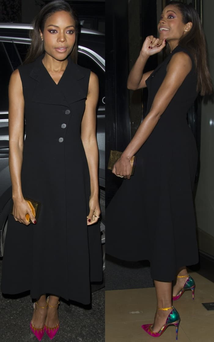 """Naomie Harris wearing a black Christian Dior spring 2017 dress and Christian Louboutin """"Chapito Ho"""" pumps at the 2017 London Critic's Circle Film Awards"""