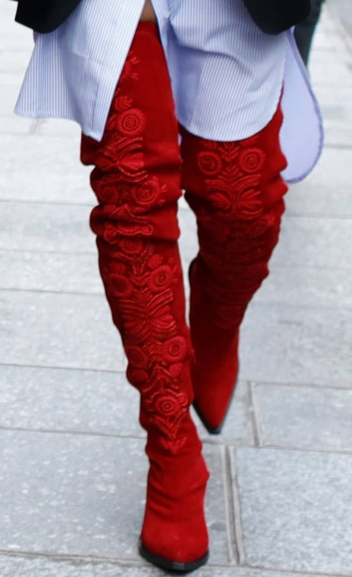 Rita Ora wearing red H&M thigh-high suede boots while out and about in Paris
