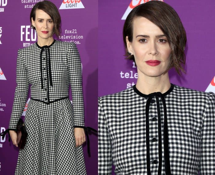 "Sarah Paulson wearing a black and white vintage Valentino gingham dress and Nicholas Kirkwood ""Leda"" pumps in black suede"