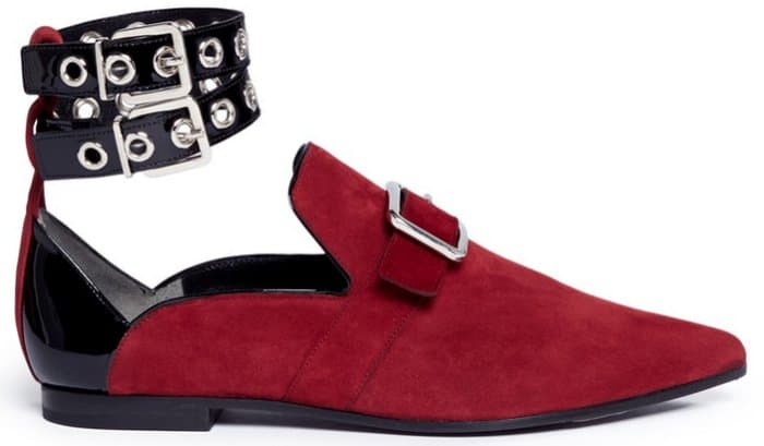 "Self-Portrait x Robert Clergerie ""Lolli"" Eyelet Ankle Strap Suede Loafers in Dark Red"