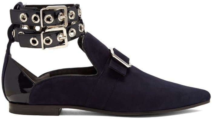 "Self-Portrait x Robert Clergerie ""Lolli"" Point-Toe Flats in Ink Navy Suede"