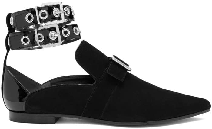"Self-Portrait x Robert Clergerie ""Lolli"" Point-Toe Flats in Black Suede"
