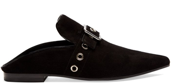 "Self-Portrait x Robert Clergerie ""Lopal"" Backless Flats in Black Suede"