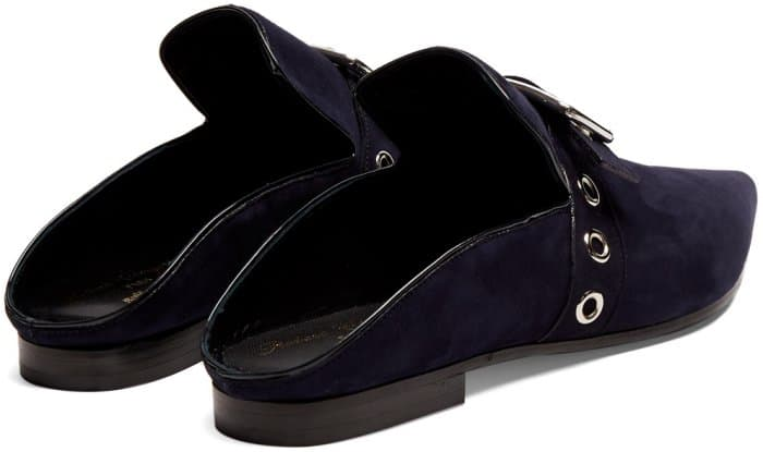 "Self-Portrait x Robert Clergerie ""Lopal"" Backless Loafers in Navy Suede"