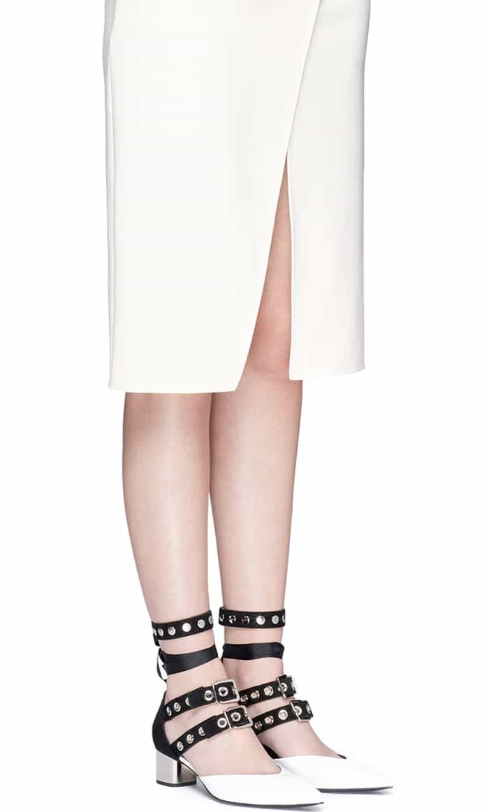"Self-Portrait x Robert Clergerie ""Susa"" Eyelet Strappy White Patent Leather Pumps"