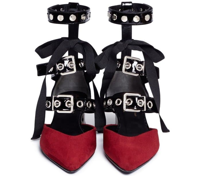 "Self-Portrait x Robert Clergerie ""Susa"" Eyelet Strappy Suede Pumps in Dark Red and Black"