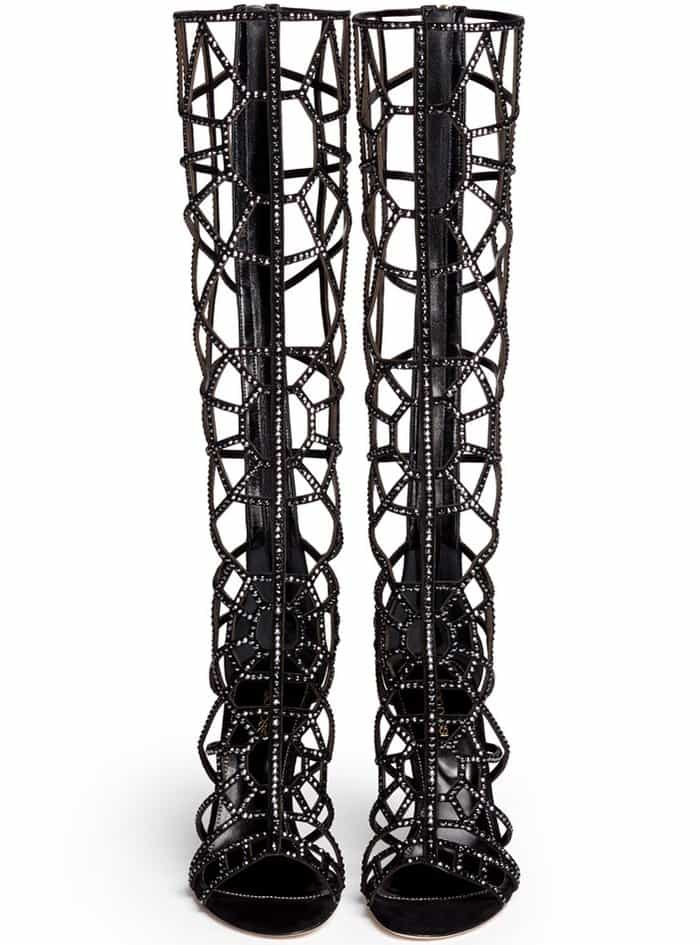 "Sergio Rossi ""Puzzle"" Suede Strass Cutout Cage Sandal Boots"