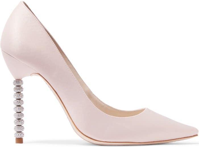 "Sophia Webster ""Coco Crystal"" Pumps in Pastel Pink Satin"