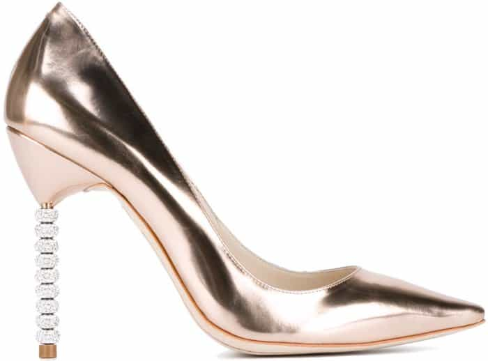 "Sophia Webster ""Coco Crystal"" Pumps in Rose Gold Leather"