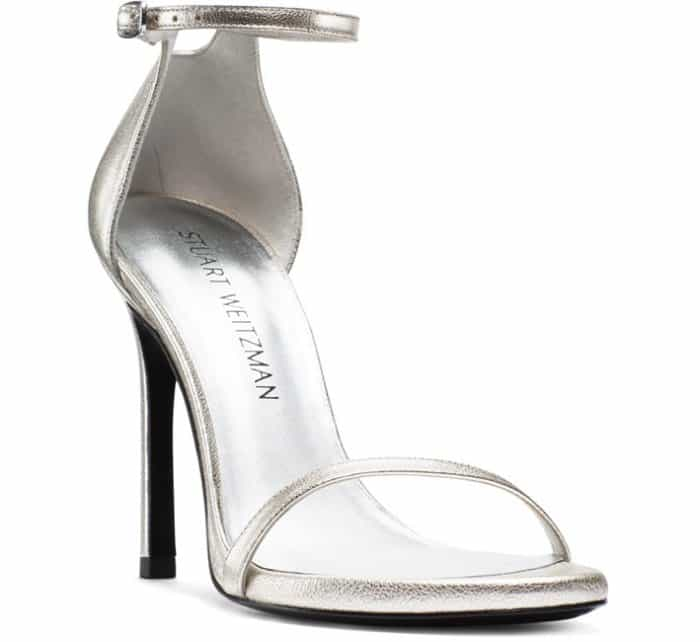 "Stuart Weitzman ""Nudistsong"" Sandals in Pearl Nappa Leather"