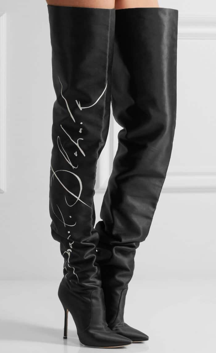 Vetements x Manolo Blahnik Printed Satin Thigh Boots