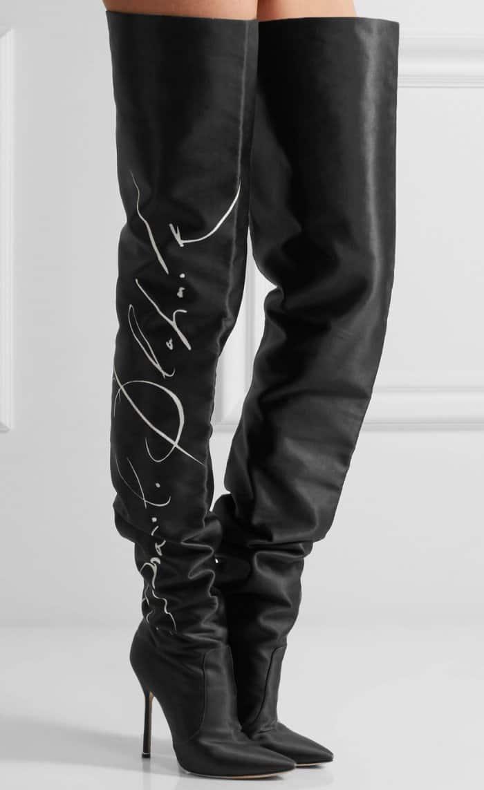 Vetements x Manolo Blahnik Printed Satin Thigh Boots