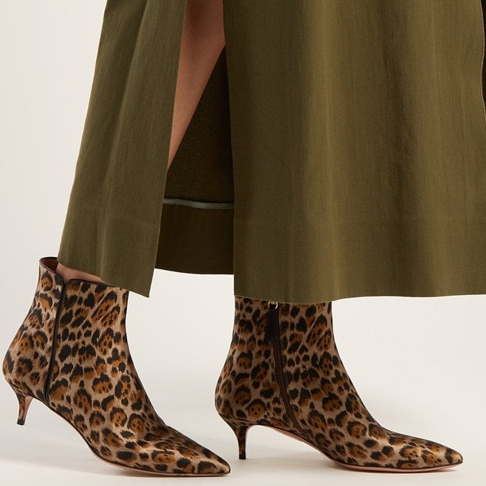 Aquazzura reinvents this its timeless Quant ankle boots in brown leopard print