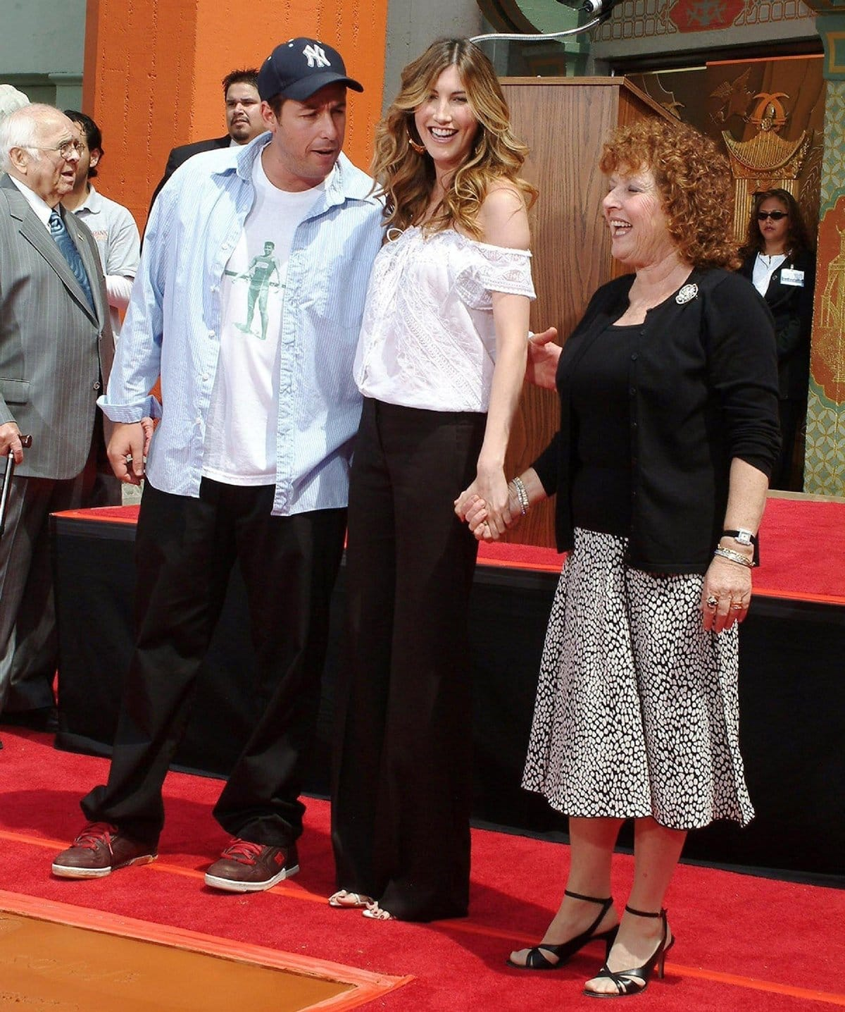 """Adam Sandler with his wife Jacqueline """"Jackie"""" Sandler and his mother Judith """"Judy"""" (née Levine)"""