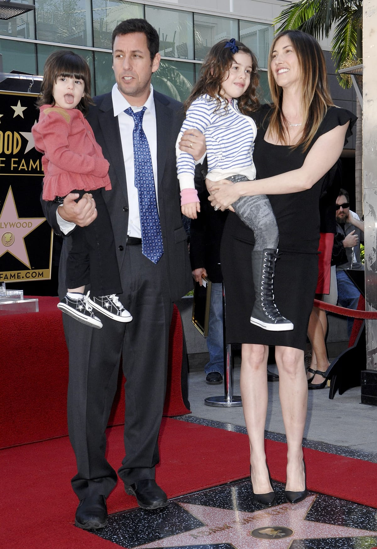 Adam Sandler with his wife Jackie and daughters Sadie and Sunny celebrate his star on the Hollywood Walk of Fame