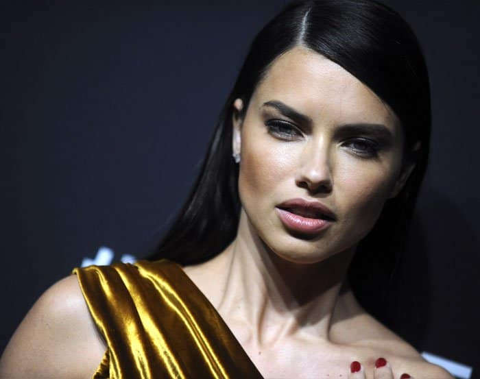 The Victoria's Secret model shows off her trademark pout