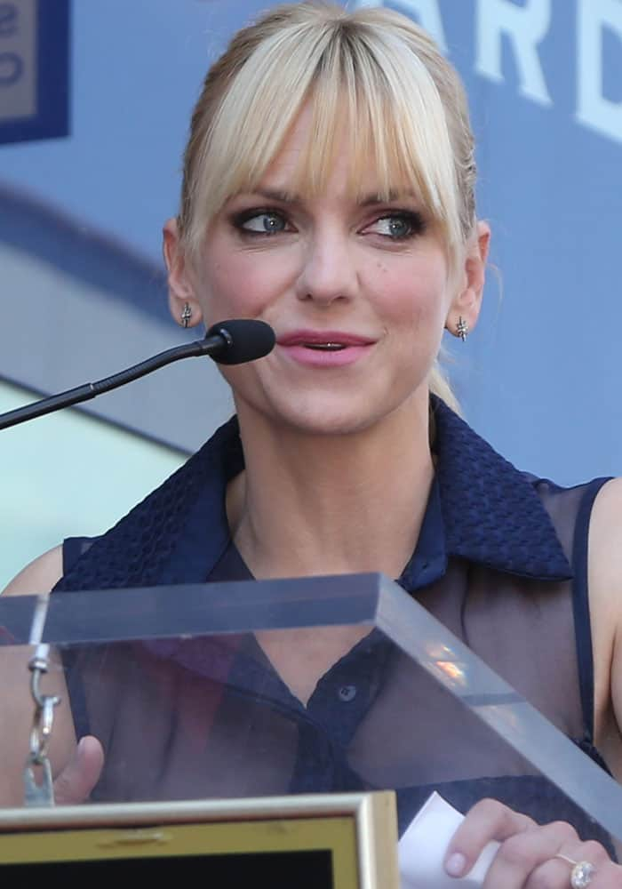 Anna Faris attends husband Chris Pratt's star ceremony at the Hollywood Walk of Fame in Los Angeles on April 21, 2017