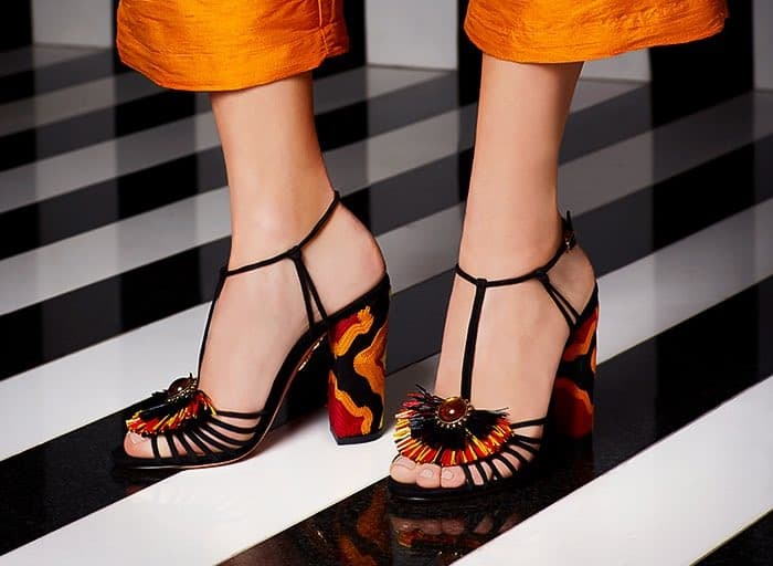 Aquazzura Samba raffia-embellished suede sandals