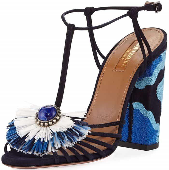 Aquazzura 'Samba' Raffia T-Strap 105mm Sandals in Blue