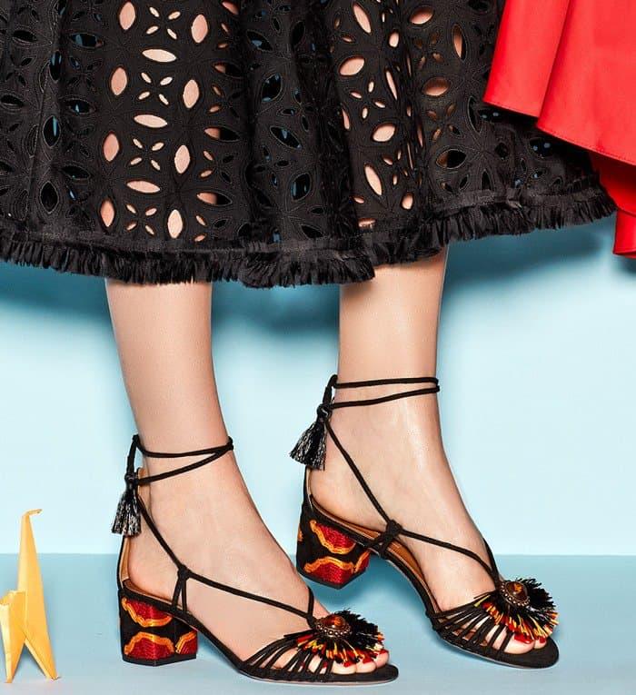 Aquazzura 'Samba' Suede Block-Heel Sandals