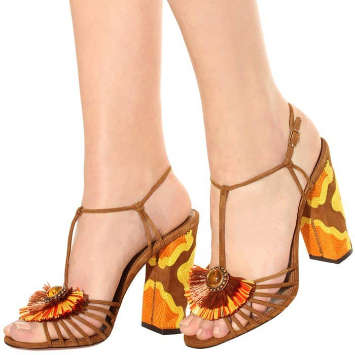 Aquazzura 'Samba' Raffia T-Strap 105mm Sandals in Orange/Yellow