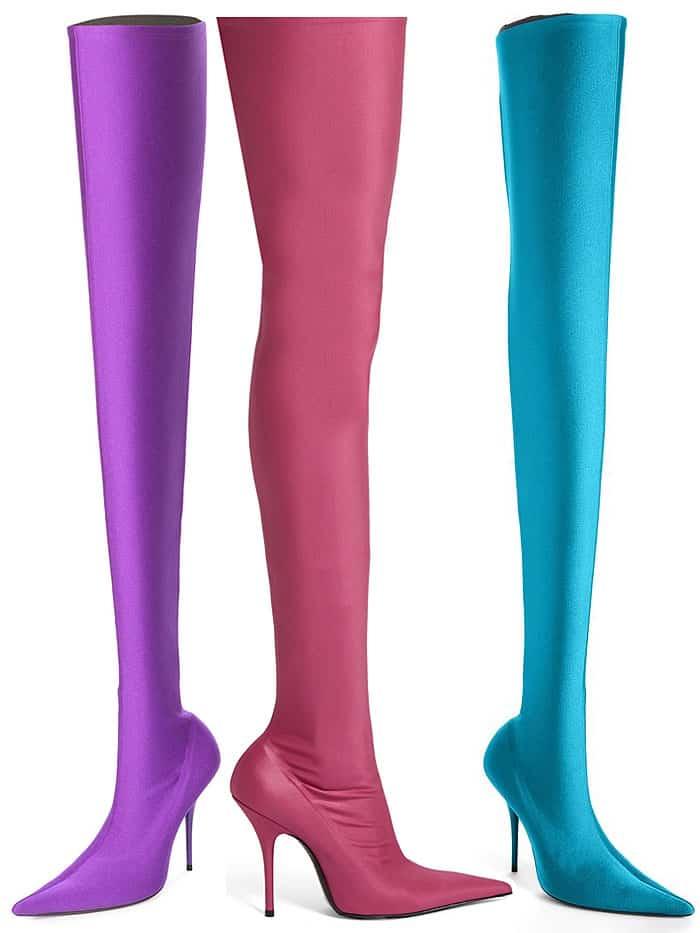 Balenciaga Knife boots in Ultraviolet, Hot Pink and Aqua Blue