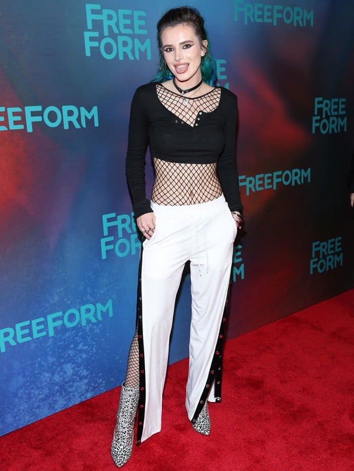 Bella Thorne attends Freeform 2017 Upfront at Hudson Mercantile on April 19, 2017 in New York City on April 19, 2017