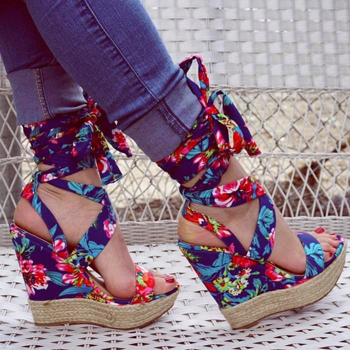 Blue Floral Summer Wedges