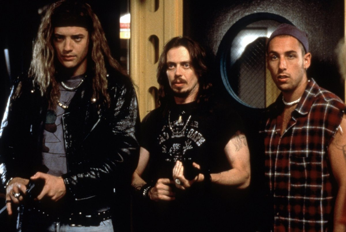 Brendan Fraser as Chazz Darby (né Chester Ogilvie), Steve Buscemi as Rex, and Adam Sandler as Pip in the 1994 American comedy film Airheads