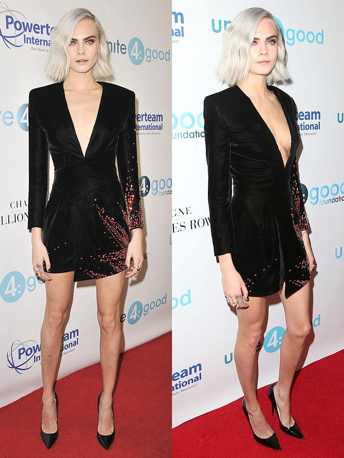 Cara Delevingne attending the 4th annual unite4:humanity gala at the Beverly Wilshire Four Seasons Hotel in Beverly Hills, California, on April 7, 2017.