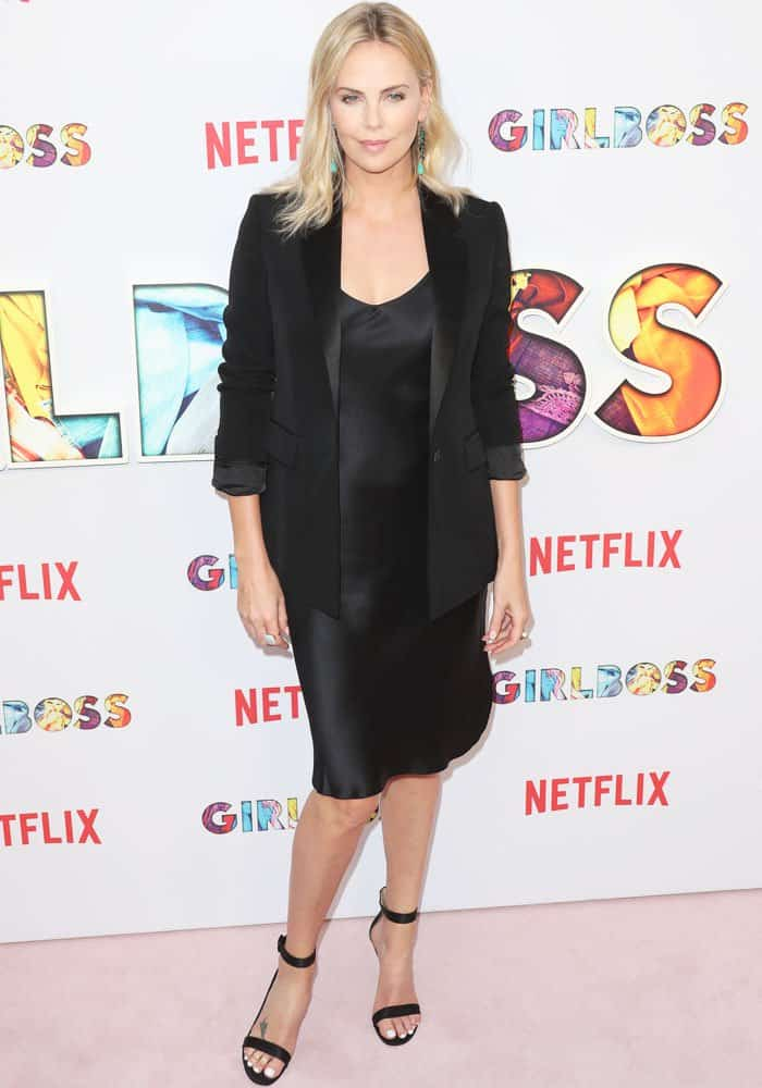 Charlize gives off the executive producer vibe in a Givenchy dinner jacket
