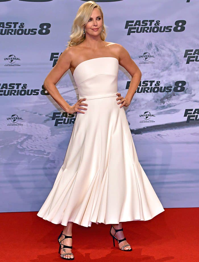 Charlize Theron at the premiere of her upcoming movie 'The Fate of the Furious' at CineStar Sony Center at Potsdamer Platz square in Berlin on April 4, 2017