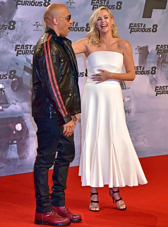 Charlize Theron stole the show as she joined co-star Vin Diesel on the red carpet