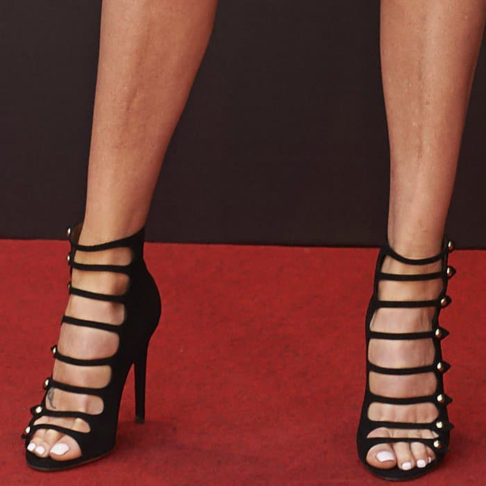 Charlize Theron in Tabitha Simmons cutout booties