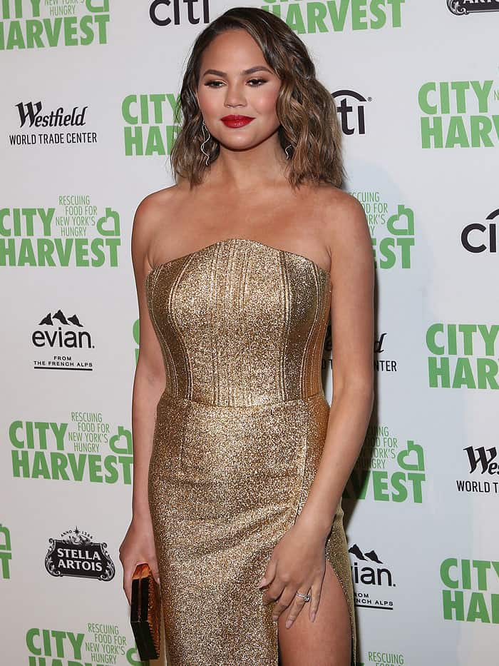 "Chrissy Teigen at the 23rd Annual City Harvest ""An Evening of Practical Magic"" Gala at Cipriani 42nd Street in New York City on April 25, 2017."