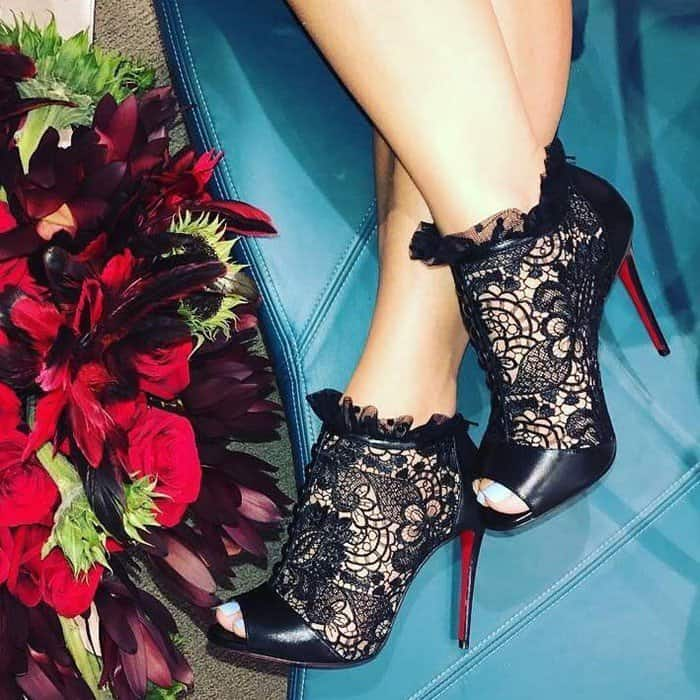 Christian Louboutin 'Henrietta' Lace Peep-Toe Red Sole Booties