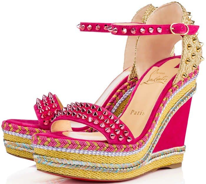481f2d717587 Christian Loboutin s  Madmonica  Sandals with Gleaming Pyramid Studs