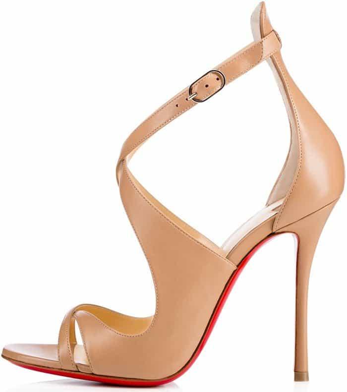 Christian Louboutin 'Malefissima' Crisscross 100mm Red Sole Sandals