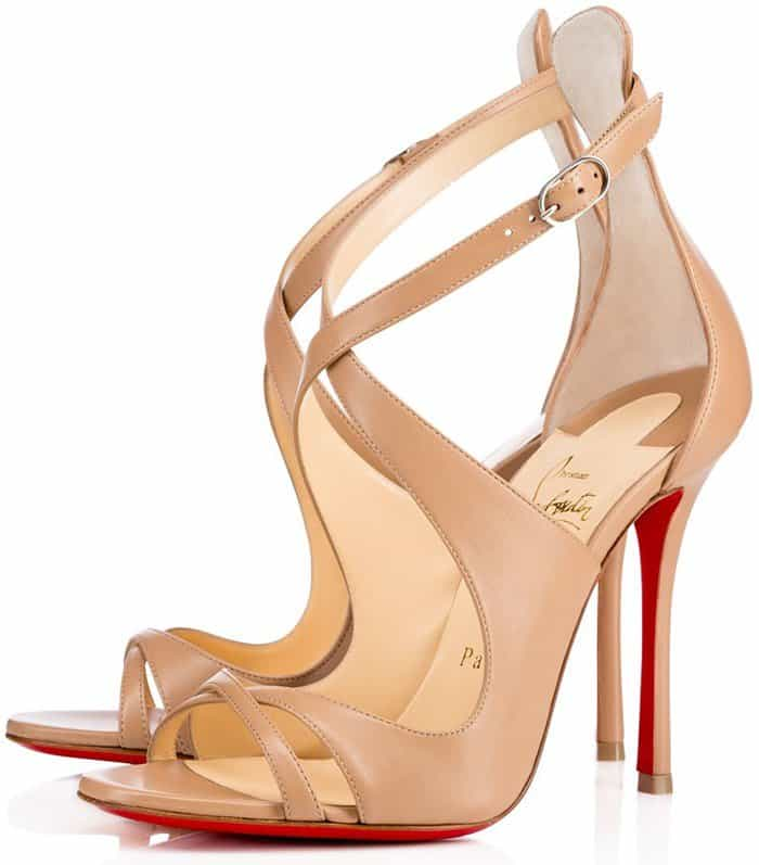 Christian Louboutin Malefissima Crisscross 100mm Red Sole Sandals