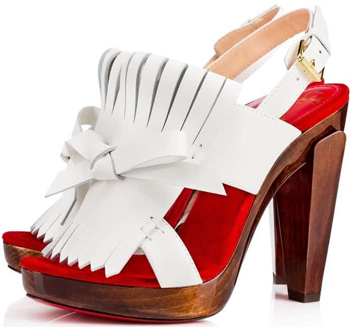 Christian Louboutin 'Soclogolfi' 120 Fringed Leather Platform Sandals