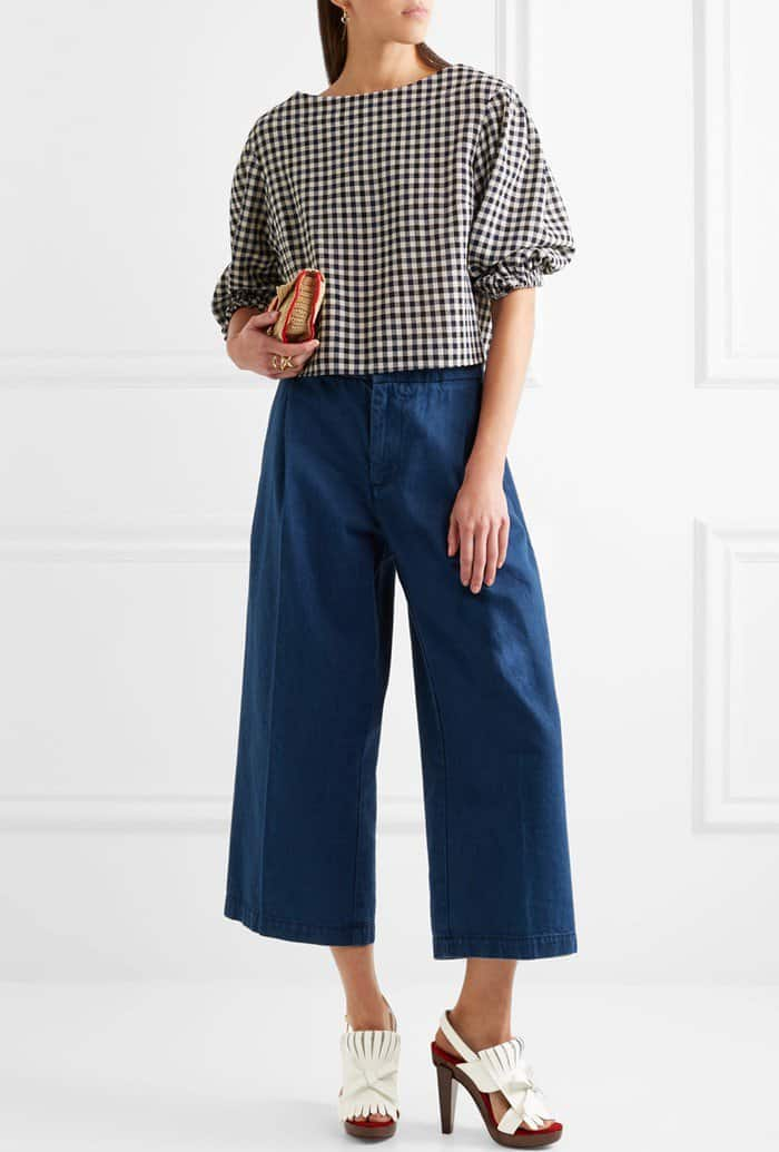Model wearing the 'Soclogolfi' heels with Marni cropped denim wide-leg pants and a black, navy and white checked wool-crepe from Sonia Rykiel's Resort '17 collection