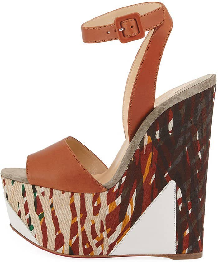 Christian Louboutin 'Tromploia' 160mm Platform Wedge Red Sole Sandals