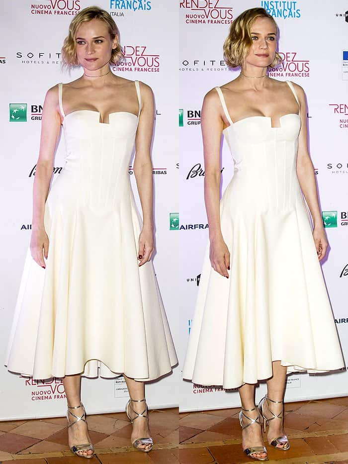 Diane Kruger in a pastel yellow Paule Ka dress with a dreamy circle skirt