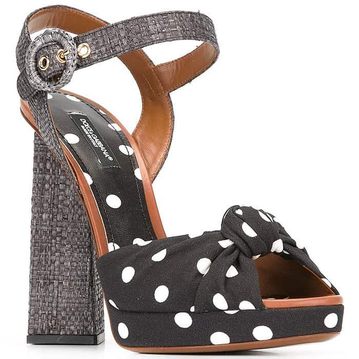 Dolce & Gabbana Cady polka dot pyramid heel sandals