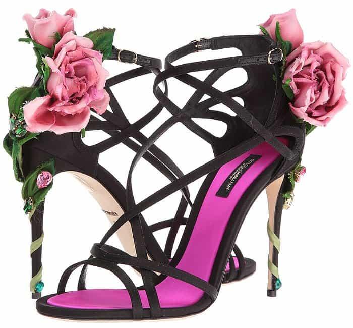 Dolce & Gabbana Keira crystal-embellished pink rose vine heel satin sandals
