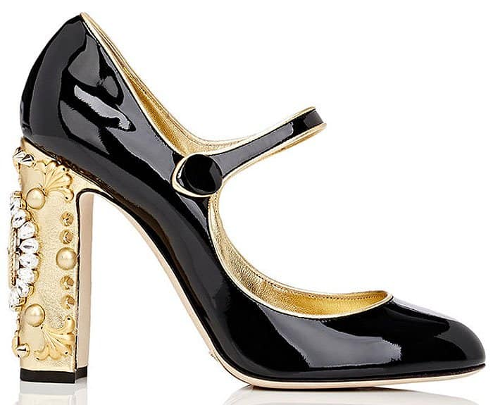 Dolce & Gabbana embellished-heel patent mary janes