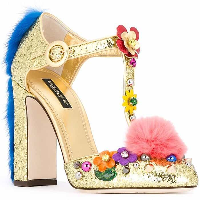 Dolce & Gabbana Vally fur-trimmed glitter t-strap pumps