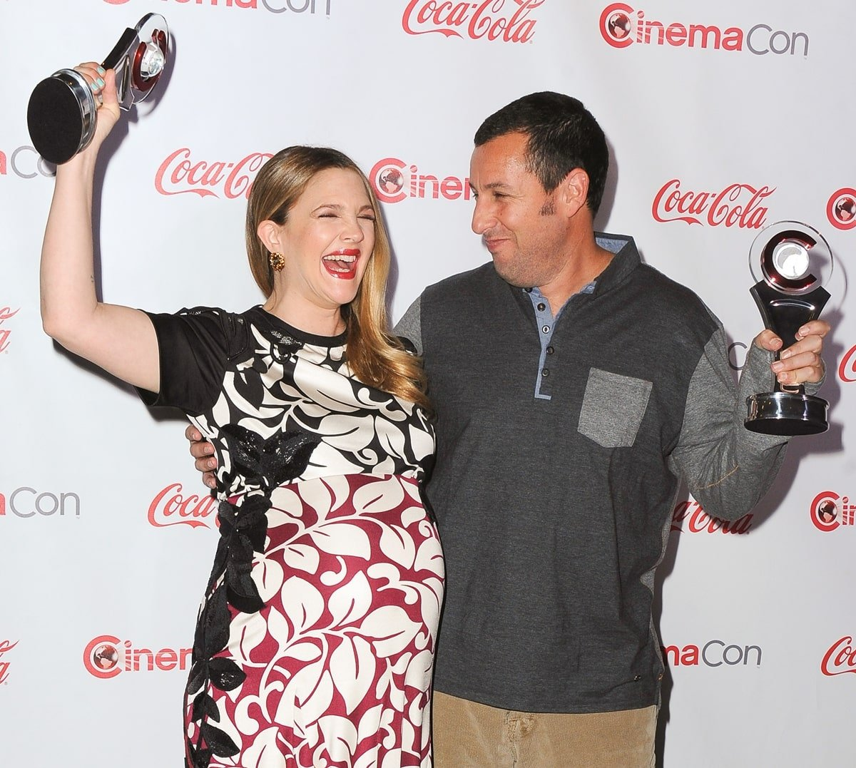 Drew Barrymore and Adam Sandler picked up the Female and Male Star of the Year awards for their romantic comedy Blended at the 2014 CinemaCon Big Screen Achievement Awards