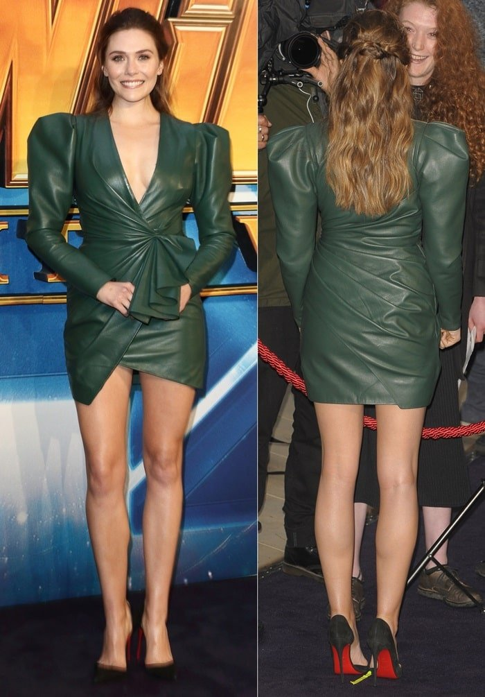 Elizabeth Olsen's army-green plunging leather mini dress from Alexandre Vauthier's Fall 2018 collection